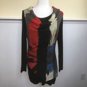 Simply Couture Color Block Floral Cowl Neck Tunic